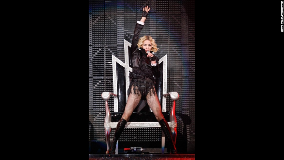 "Performing during the ""Sticky & Sweet"" tour, Madonna sings onstage at the MGM Grand Garden Arena in Las Vegas on November 9, 2008."