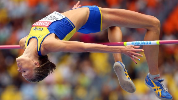 Isinbayeva criticized Swedish athletes Emma Green Tregaro (pictured) and Mao Hjelmer for sporting rainbow-colored fingernails in support of the gay rights movement during their events in the Russian capital.
