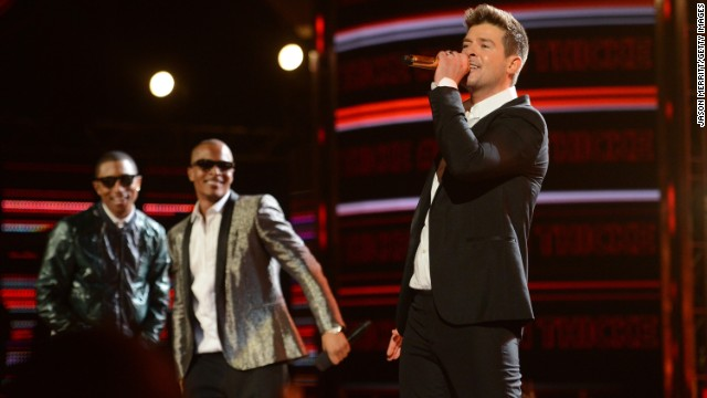 "Pharrell Williams, T.I. and Robin Thicke performed on the hit track ""Blurred Lines."""