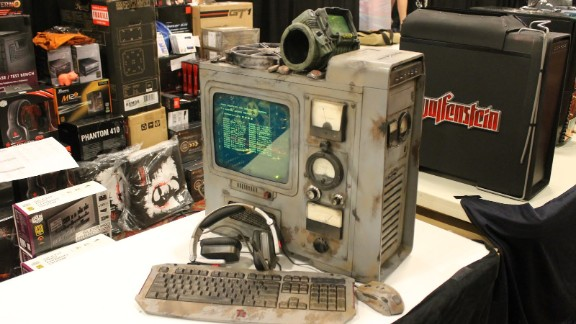 """Modders Inc., the sponsors of a contest for the best modified computers, showed off what was possible with a display incorporating imagery from the game """"Fallout."""""""