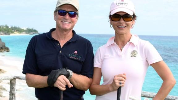 Hollywood mogul Michael Douglas and his actress wife Catherine Zeta-Jones are both keen golfers.