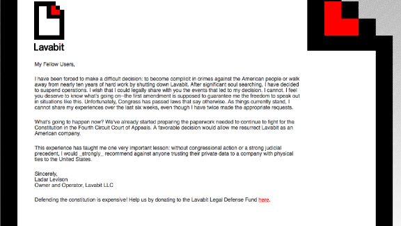 Lavabit, a secure encrypted e-mail service, closed shop reportedly in response to government pressure to hand over customer data, including those of Edward Snowden. On its website, Lavabit announced the decision to shut itself down.