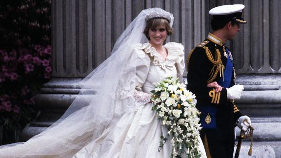 Diana and Charles are wed on July 29, 1981.  Here the prince and princess leave St. Paul's Cathedral in London.
