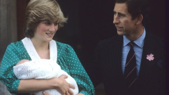 Diana and Charles leave the Lindo Wing of St Mary's Hospital in London with Prince Harry's elder brother, William, in July 1982.