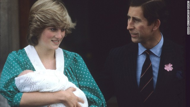 Diana and Charles leave the Lindo Wing St Mary's Hospital after the birth of their first son, Prince William, on July 22, 1982, in London.