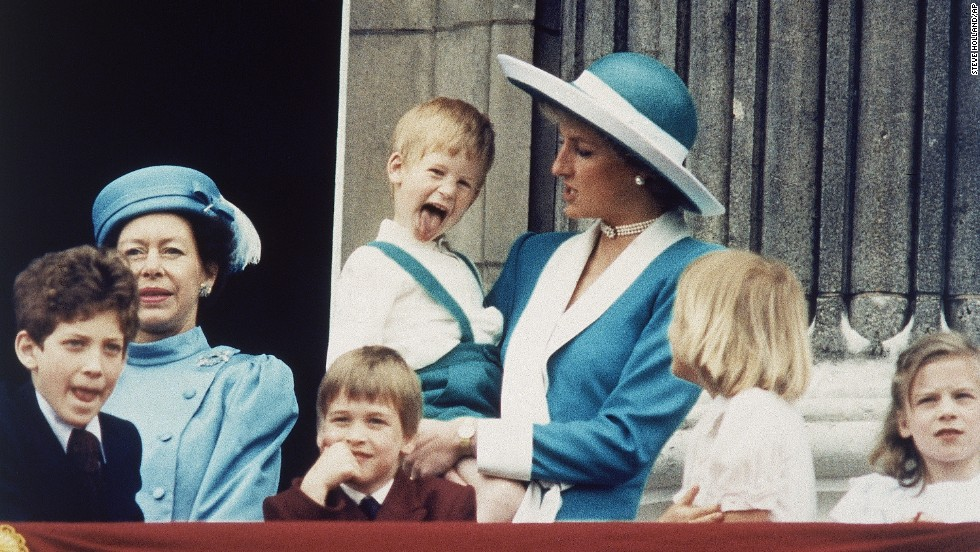 Prince Harry shows a bit of his personality on the Buckingham Palace balcony in June 1988.