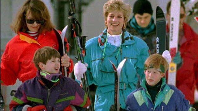 Diana and Harry are accompanied by family friend Catherine Soames and her son Harry during a pre-Easter skiing trip in Lech, Austria on March 24, 1994.
