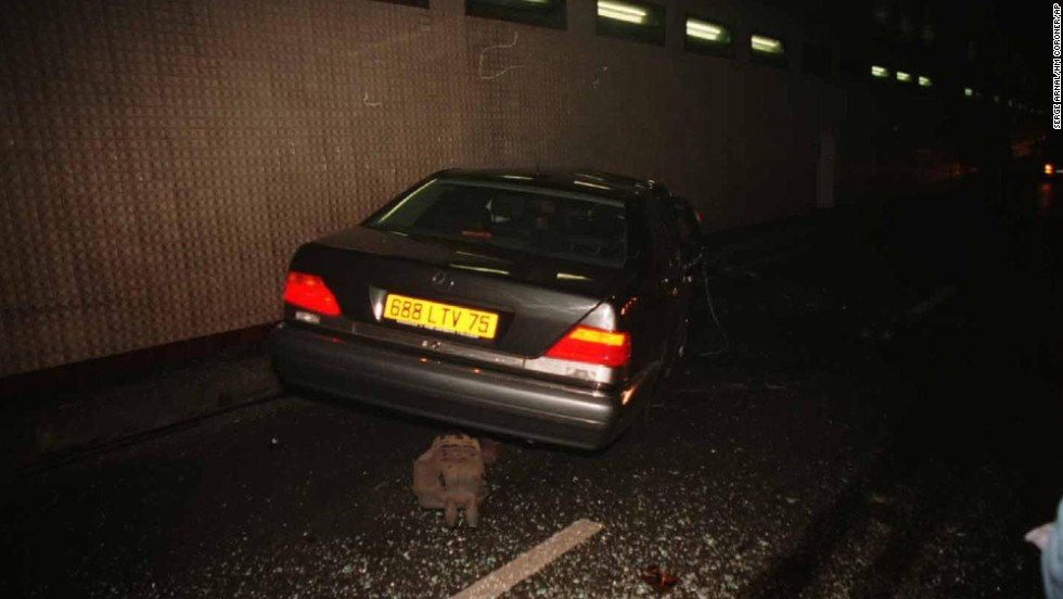Another photo made available from the inquest evidence shows the wreckage of the car in the Pont de l'Alma tunnel.