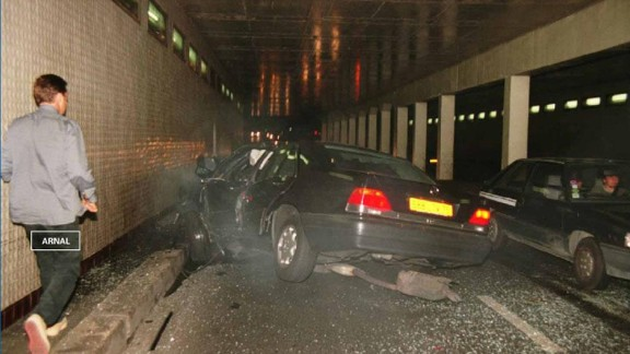 Another angle of the scene of the crash can be seen in this photo released from the inquest evidence.