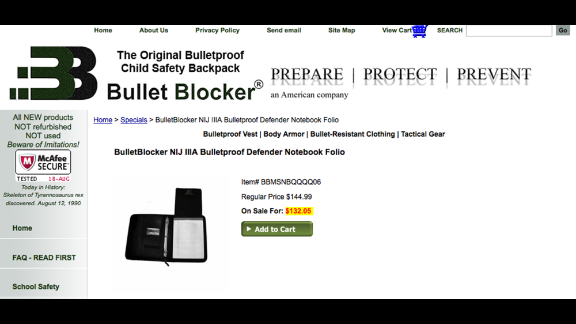 "BulletBlocker's notebook folio provides multipocket organization and an 11-by-14-inch shield against ballistics. ""The Defender Folio is perfect for situations where a backpack isn't practical or allowed,"" the company says on its website."