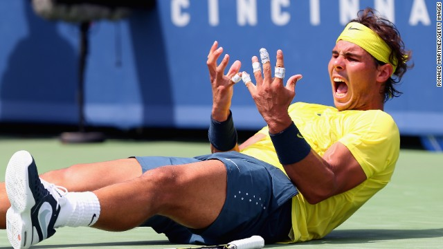 Rafael Nadal shows how much winning the Cincinnati title for the first time means to him.