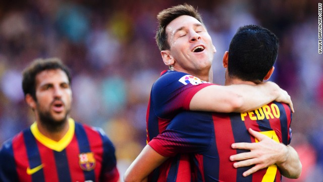 Pedro and Lionel Messi were both on target twice in the 7-0 rout of Levante in the Nou Camp.