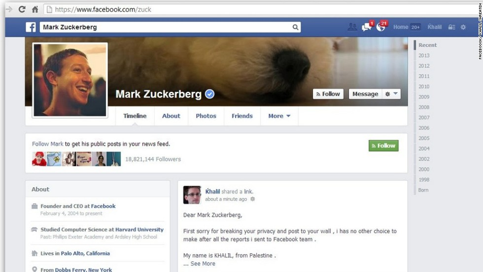 Zuckerberg made headlines indirectly in August when a researcher discovered what he said was a security flaw in Facebook's system that could allow users to post updates to anyone's page, regardless of whether they were friends. When Facebook wouldn't listen to the man's claims, he posted a message on Zuckerberg's wall.