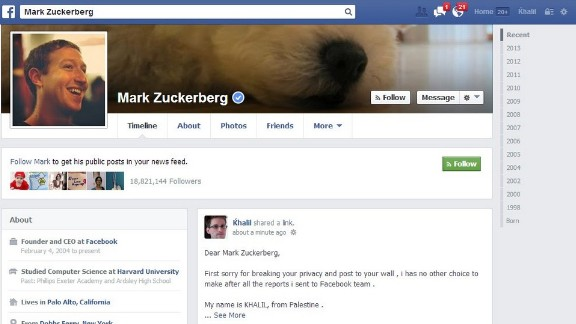 Shreateh said he contacted Facebook security about the vulnerability before using it to post to Mark Zuckerberg's page.