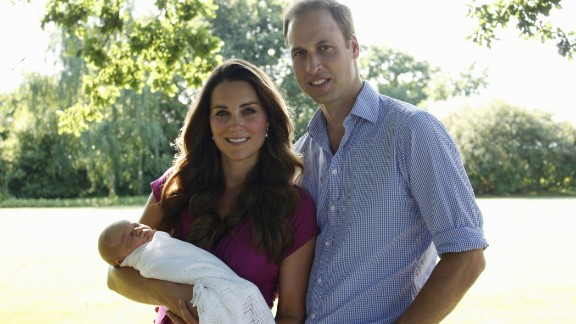 The couple are pictured with their newborn boy, Prince George, in 2013. The new parents released two family photographs taken by Michael Middleton, Catherine's father.