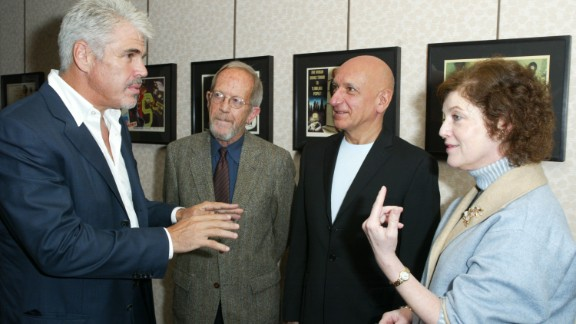 "Director Gary Ross, from left, Leonard, actor Ben Kingsley, and Janet Maslin of The New York Times talk at the TimesTalks event ""Book To Screen"" in October 2003 in New York."