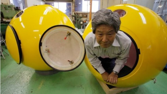 The Noah escape pod was designed in response to the Japanese earthquake and tsunami of March 2011. Not for the claustrophobic, it is designed to accommodate four adults