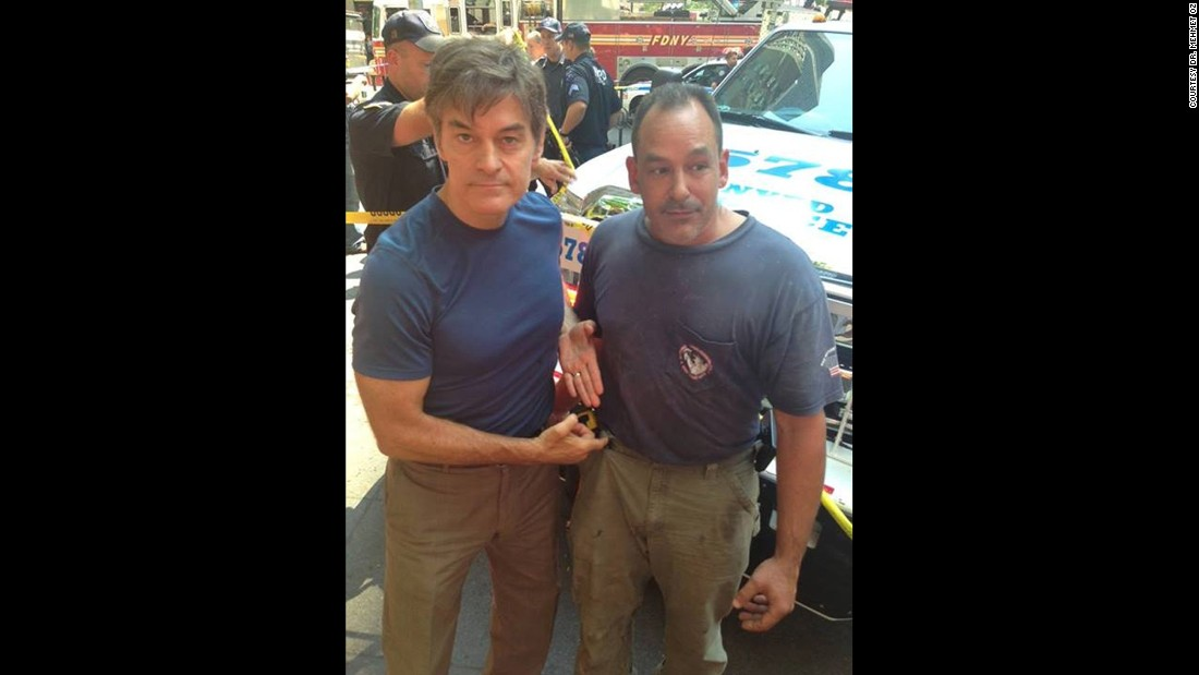 "Dr. Mehmet Oz, left, is now more known as a TV personality, but he hasn't lost his medical training. <a href=""http://www.cnn.com/2013/08/20/us/new-york-dr-oz-helps-accident/"" target=""_blank"">When a taxi jumped the curb</a> in New York in August 2013 and hit a British tourist, severing her leg, Oz helped secure a tourniquet created with a belt supplied by bystander David Justino, right."