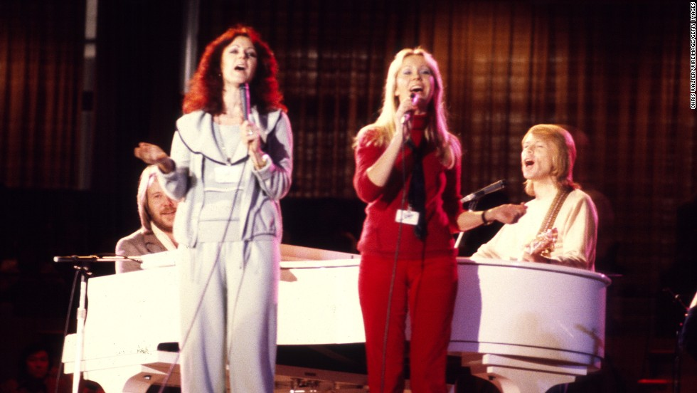 Bernstein also arranged to bring the Swedish rock group ABBA to the United States. Here the band performs at a UNICEF concert at the United Nations in 1979.