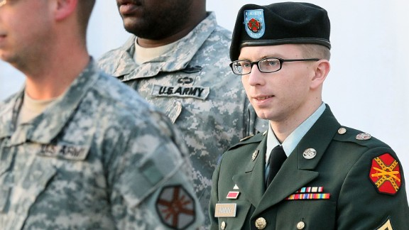 Manning was sentenced to 35 years in prison for leaking 750,000 pages of classified U.S. military and diplomatic documents, though he could have received up to 90 years. Here, Manning is escorted away from his Article 32 hearing on February 23, 2012, at Fort Meade, Maryland.
