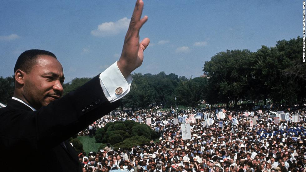 The Rev Martin Luther King Jr Addresses A Crowd Near Lincoln Memorial During
