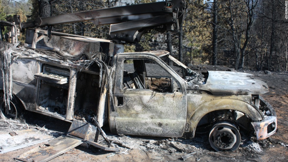 A truck sits scorched outside of Yosemite National Park on August 24.