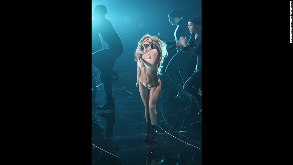 Lady Gaga performs at the 2013 MTV Video Music Awards.
