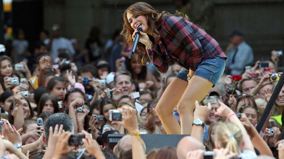 "Cyrus performs for ABC's ""Good Morning America"" at New York's Bryant Park in July 2008."