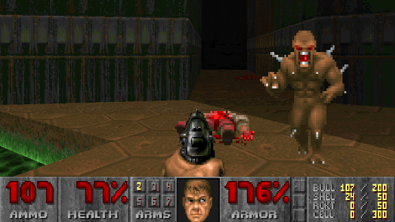"""""""Doom"""" was the first massively popular first-person shooter game. Seeing violence from a shooter"""