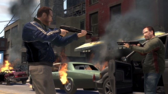 """""""Grand Theft Auto IV"""" rekindled the violent video-game debate with reports that an 8 year old who shot and killed his elderly caretaker had been playing it. Studies have been inconclusive on the issue, but the debate stretches back more than three decades."""