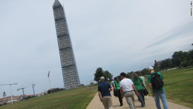 "In Ingress, real-life landmarks, like the Washington Monument, serve as in-game ""portals"" players must capture."