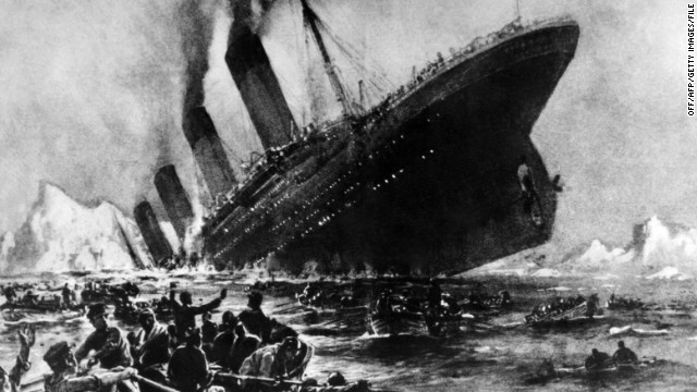 Undated artist impression showing the April 14, 1912, shipwreck of the British luxury passenger liner Titanic off the Nova-Scotia coasts, during its maiden voyage. The supposedly 'Unsinkable' Titanic set sail down Southampton Water en route to New York on April 10, 1912, and met disaster on  April 14, 1912, after hitting an iceberg off Newfoundland shortly before midnight and sinking two hours later, killing 1,503 passengers and ship personnel.