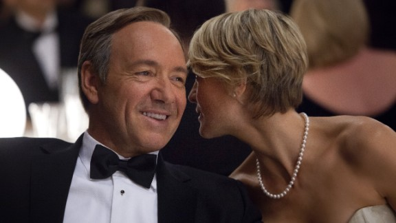 """Kevin Spacey and Robin Wright star in """"House of Cards."""" The show is up for nine Emmys, including best drama."""