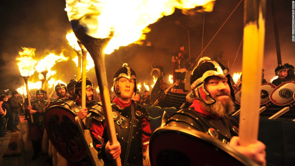 The Up Helly Aa festival celebrates the influence of the Scandinavian vikings in the Shetland Islands. The event culminates with up to 1000 'guizers' (men in costume) throwing flaming torches into a Viking longship.