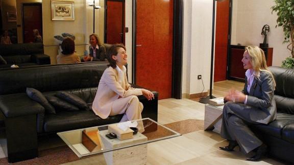 Duchess Camilla speaks with Asma al-Assad in Damascus, Syria, on March 22, 2004.