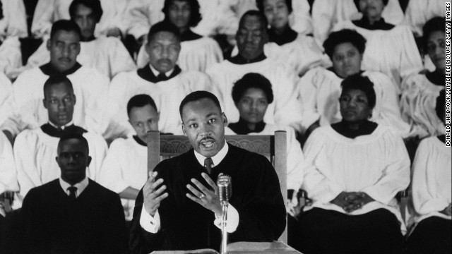 The Rev. Martin Luther King Jr. delivers a sermon at Ebenezer Baptist Church.