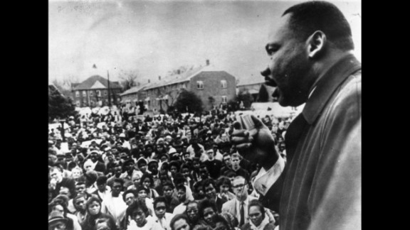 King addresses civil rights marchers in Selma in April 1965.