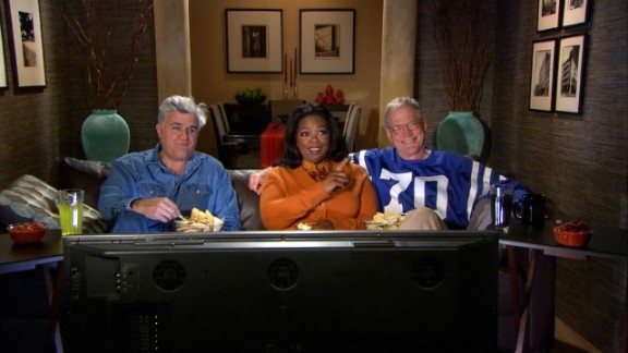 """Letterman isn't above poking some friendly fun at his rival, Jay Leno, and in the disastrous NBC late night wars of 2010, Letterman kicked it up a notch. But, we assume, it was all in good fun -- Letterman still joined Oprah Winfrey and Leno in a """"Late Show"""" promo during the Super Bowl that year, an ad that was said to be Letterman's idea."""