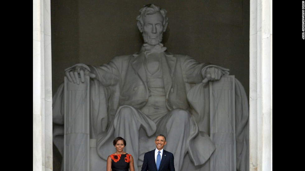 First lady Michelle Obama and President Barack Obama arrive at the Lincoln Memorial, where King spoke 50 years ago.