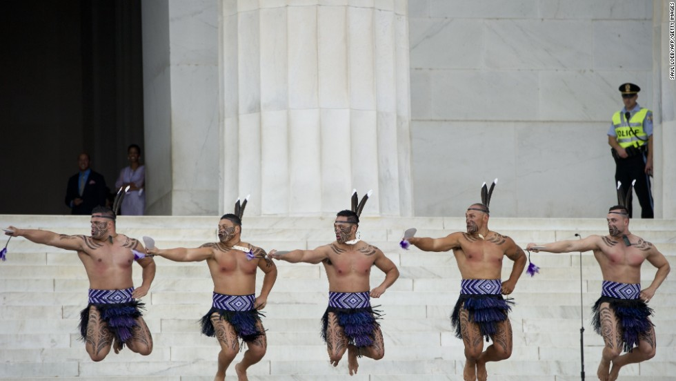 Traditional Maori dancers from New Zealand's Destiny Church perform during the commemoration.