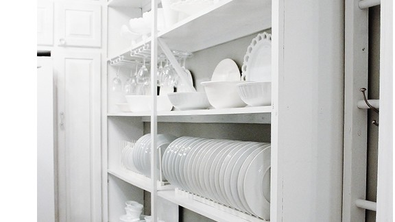 KariAnne Wood's butler's pantry shows off the beauty of everyday dishes.