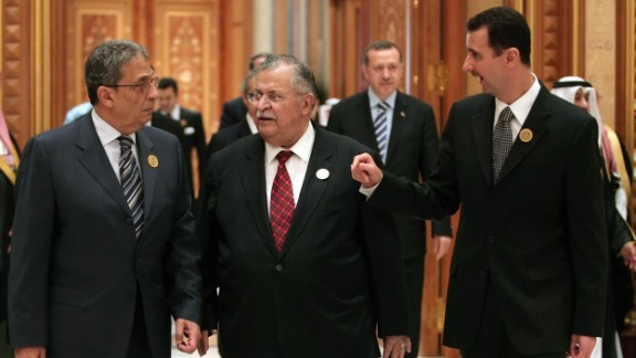 From left: Arab League Secretary-General Amr Moussa, Iraqi President Jalal Talabani and al-Assad talk at the Arab Summit in Riyadh, Saudi Arabia, on March 28, 2007.