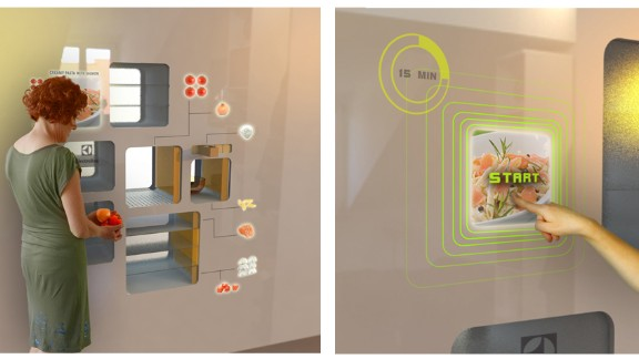 The only finger you need lift in the 2D Smart Kitchen is the one that picks your meal. Browse the menu on the wall-mounted touchscreen, which provides dinner options based on what's in your fridge, and click 'start'. Dutch designer Ermi van Oers' automatic cooking concept will select the ingredients and then chop it and cook it. Just don't tell the guests.