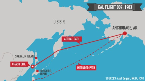 Map: KAL 007's route to disaster