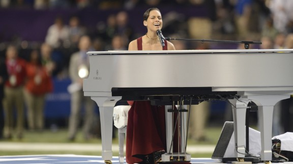 Alicia Keys, who performed the National Anthem before the start of this year