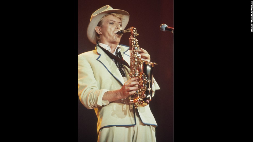"David Bowie, seen here performing onstage in 1983, learned to<a href=""http://www.biography.com/people/david-bowie-9222045"" target=""_blank""> play the saxophone when he was 13</a>."