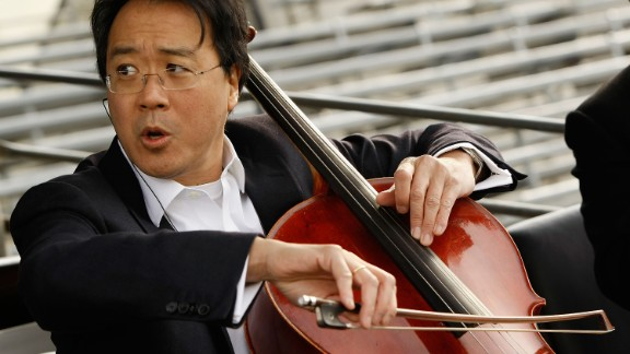 Cellist Yo-Yo Ma, seen here rehearsing for the presidential inauguration in 2009, began studying the cello with his dad when he was 4.