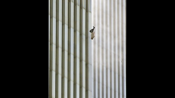 """Richard Drew captured this image of a man falling from the World Trade Center in New York after the terror attacks on September 11, 2001. Its publication led to a public outcry from people who found the photograph insensitive. Drew sees it differently. On the 10th anniversary of the attacks, he said he considers the falling man an """"unknown soldier"""" who he hopes """"represents everyone who had that same fate that day."""" It's believed that upwards of 200 people fell or jumped to their deaths after the planes hit the towers."""