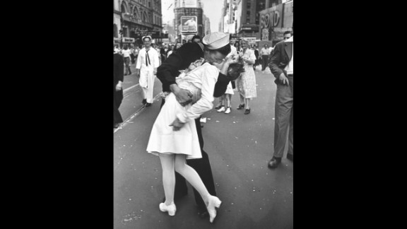 """Alfred Eisenstaedt's photograph of an American sailor kissing a woman in Times Square became a symbol of the excitement and joy at the end of World War II. The Life photographer didn't get their names, and several people have claimed to be the kissers over the years. A book released last year identifies the pair as George Mendonsa and Greta Zimmer Friedman. """"Suddenly, I was grabbed by a sailor,"""" Friedman said in 2005. """"It wasn't that much of a kiss. It was more of a jubilant act that he didn't have to go back (to war)."""""""