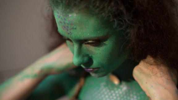 Jessica Mallory, 24, of Milledgeville, Georgia, came dressed as a mix between a mermaid and a swamp thing.